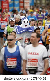 LONDON - APRIL 21: Participant in the London Marathon wearing funny costume on April, 21, 2013 in London, UK. London Marathon is next to New York, Berlin, Chicago and Boston to World Marathon Majors.
