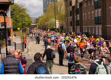 LONDON - APRIL 22: Unidentified people run the London marathon on April 22, 2012 in London, England, UK. The marathon is an annual event.