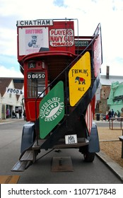 LONDON - APRIL 23, 2018: The Chatham Historic Dockyard Trust  held a display of vintage buses at the historic Chatham Dockyard, Kent, April 23, 2018.