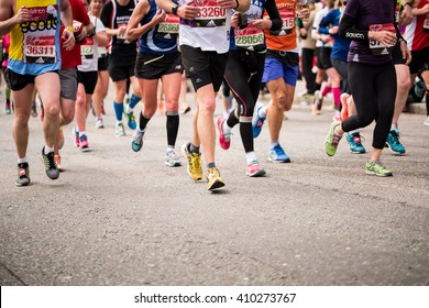 LONDON - April 24 2016. The London Marathon. The race was founded by the Chris Brasher and John Disley. The race begins at Blackheath and finishes in The Mall alongside St. James's Park.