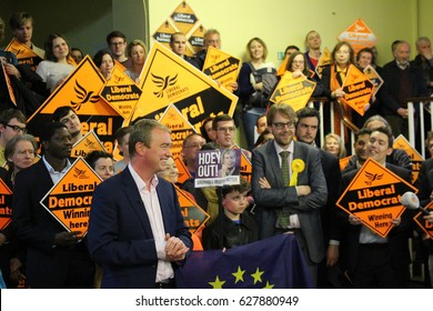 London, April 24th 2017. Tim Farron, leader of British political party the Liberal Democrats, holds a press conference in Vauxhall, South London as part of the 2017 General Election campaign