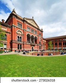 LONDON - APRIL 25, 2015. The John Madejski Garden in the heart of the Victoria & Albert Museum. The 1852 building houses the world's largest collection of decorative arts and design, in London.
