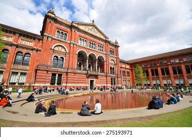 LONDON - APRIL 25, 2015. The John Madejski Garden in the Victoria & Albert Museum. The 1852 building houses the world's largest collection of decorative arts and design, located in London.