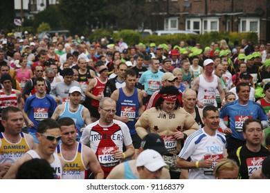 LONDON - APRIL 25: Runners in the London Marathon on April, 25, 2010 in London, UK. London Marathon is next to New York, Berlin, Chicago and Boston to the World Marathon Majors