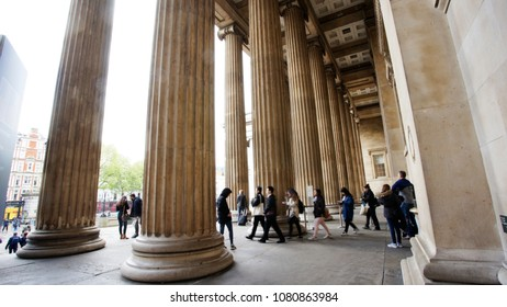 LONDON - APRIL 26: Outside view of British Museum on April 26, 2017, London, UK. Museum's Collections comprise 8 million items, dedicated to human history and culture, from all continents.