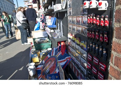 LONDON - APRIL 27: Souvenir shops sell memorabilia for the royal wedding celebration to take place April 29 at Westminster Abbey. April 27, 2011 in London, England.