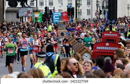 LONDON - APRIL 28: Runners in the London Marathon on April, 28, 2019 in London, UK. The London Marathon is next to New York, Berlin, Chicago and Boston to the World Marathon Majors, Champions League