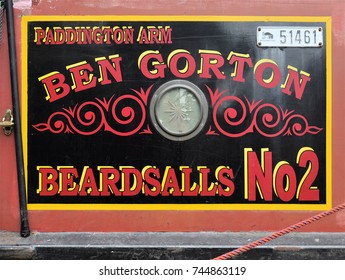 LONDON - APRIL 29. 2017. A traditional drop shadow style hand painted name panel on a narrow boat mooring at the Grand Union Canal during the annual Canalway Calvalcade at Little Venice, west London.