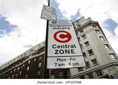 LONDON - APRIL 30 : Congestion Charge Zone Sign, introduced 2003 to reduce congestion in central, on April 30, 2012 in London, UK. The standard charge is 10 for each day Monday-Friday only.