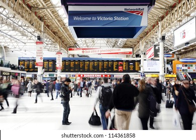 LONDON - APRIL 30 : Inside view of Victoria Station, since 1860, second busiest railway terminus after Waterloo, served 73 million passenger between 2010 - 2011, on April 30, 2012, London, UK.