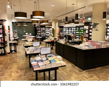 LONDON - APRIL 4, 2018: Inside Waterstones bookshop flagship store on Piccadilly, London, UK.