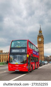LONDON - APRIL 4: Iconic red double decker bus on April 4, 2015 in London, UK. The London Bus is one of London's principal icons, the archetypal red rear-entrance Routemaster recognised worldwide.