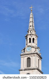 LONDON - APRIL 5, 2018. The spire of St Martin-in-the-Fields church, designed by James Gibbs and built in 1726 in the north-east corner of Trafalgar Square, London, UK.