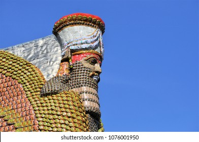 LONDON - APRIL 5, 2018. A statue of empty Iraqi date syrup cans by Michael Rakowitz re-creates the 2700 year old Lamassu, a diety destroyed in Nineveh, on the Fourth Plinth, Trafalgar Square, London.