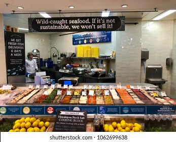 LONDON - APRIL 5, 2018: Sustainable seafood fresh fish products on sale at Whole Foods Market in Soho, Westminster, London, UK.