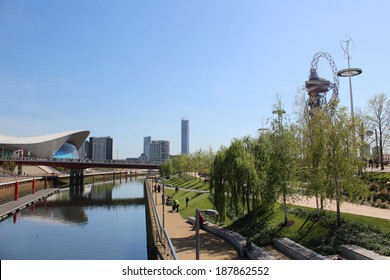 LONDON - APRIL 5. The Aquatics Centre at the new Queen Elizabeth Olympic Park on April 5, 2014, opening day of the new public area in Stratford, London, UK.