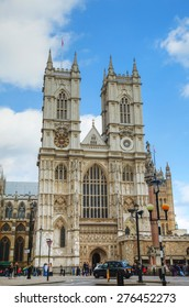 LONDON - APRIL 5: Westminster Abbey church (Collegiate Church of St Peter at Westminster) on April 5, 2015 in London, UK.  It is one of the most notable religious buildings in the United Kingdom.