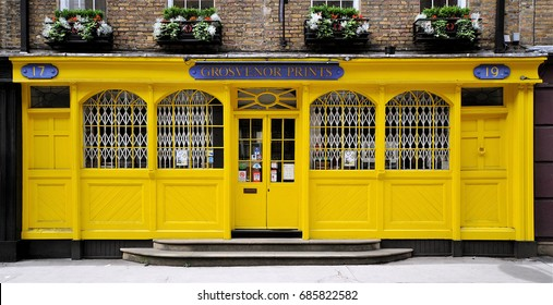 LONDON - APRIL 8, 2017. A brightly painted old shop facade on Shelton Street in the Covent Garden area of London, UK