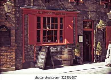 LONDON - April 9, 2014: Traditional English pub serving ales and fish and chips