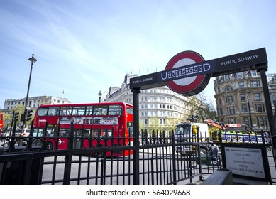 LONDON - April20 2015 : London Underground sign in London, UK. The London Underground roundel is an iconic symbol.