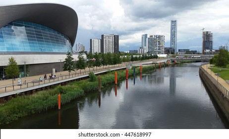 The London Aquatics Centre is located at Queen Elizabeth Olympic Park, in London, United Kingdom, a sporting complex built for the 2012 Summer Olympics