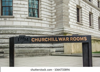 LONDON- ARPRIL, 2018: The Churchill War Rooms, one of London's Imperial War Museums and popular tourist attraction by the HM Treasury building by St James's Park.