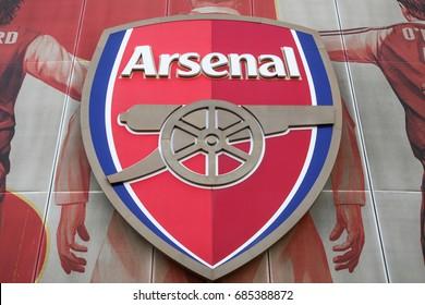 LONDON, ARSENAL, ENGLAND - APRIL 10 2015: Emirates stadium, Arsenal FC logotype