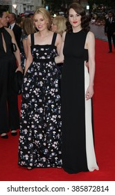 LONDON - AUG 11, 2015: Laura Carmichael ( L ) and Michelle Dockery attends the BAFTA tribute to Downton Abbey on Aug 11, 2015 in London