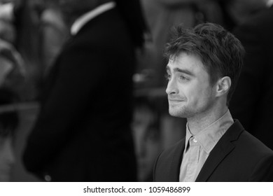 LONDON - AUG 12, 2014: ( Image digitally altered to monochrome ) Daniel Radcliffe attends the UK Premiere of What if at the Odeon West End