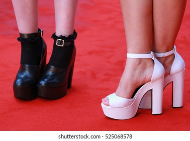 LONDON - AUG 12, 2014: Shoe detail at the UK Premiere of What if at the Odeon West End on Aug 12, 2014 in London