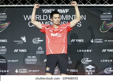 LONDON AUG 14: China's Lin Dan on the podium after defeating Malaysia's Lee Chong Wei in the men's singles final match of the World Badminton Championships at Wembley Arena in London, Aug 14, 2011.