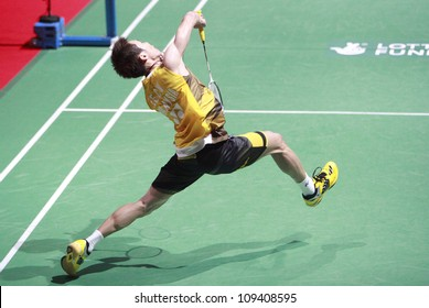 LONDON AUG 14: Lee Chong Wei of Malaysia plays a shot during the men's singles final against China's Lin Dan at the World Badminton Championships at Wembley Arena in London on August 14, 2011.