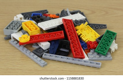 LONDON - AUG 18, 2018: Pile of the popular construction Lego building bricks on a table