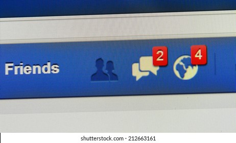 LONDON - AUG 19: Close-up view of Facebook notifications tabs on Aug 19, 2014 in London, UK. Facebook is the world's largest online social network services with reportedly 1.28 billion active users.