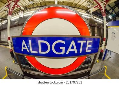 LONDON - AUG 21, 2013: Aldgate underground subway sign. Underground system serves 270 stations and has 402 kilometres (250 mi) of track.