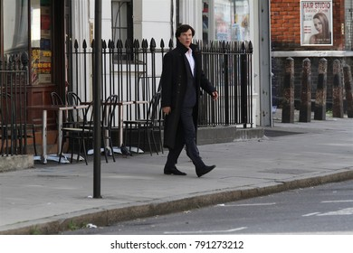LONDON - AUG 21, 2013: Benedict Cumberbatch seen filming scenes for Sherlock in London
