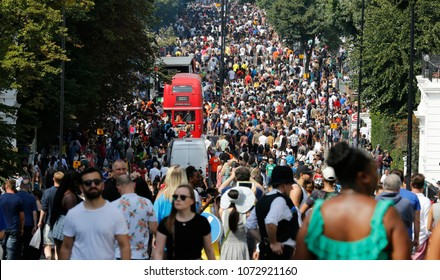LONDON - AUG 28: Ladbroke Grove street with thousand of people at Notting Hill Carnival, largest in Europe, on Aug 28, 2017, London, UK. Carnival takes place over two days in every August.