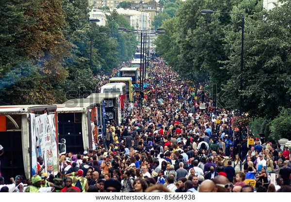 LONDON - AUG 28: view of  ladbroke Grove street full during the  Notting Hill Carnival on August 29, 2011 in London, England.