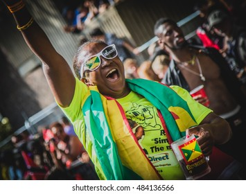 LONDON - AUG 29: Participant at carnival on the second day of Notting Hill Carnival, largest in Europe, on August 29, 2016 in London, UK. Carnival takes place over two days in every August.