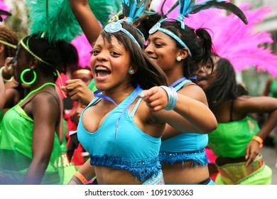 LONDON - AUG 31 : Performers take part in the second day of Notting Hill Carnival, largest in Europe, Carnival takes place over two days in every summer, on Aug 31, 2009, London, UK.
