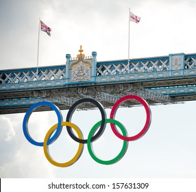 LONDON - AUG 6, 2012. Tower Bridge with Olympic rings during London 2012 Olympic Games in London on August 6, 2012. Tower Bridge, One of the most famous bridges in the world.