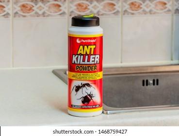 LONDON - AUGUST 02, 2019 : editorial, illustrative photo: Ant Killer powder