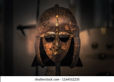 London - August 06, 2018: Ancient Anglo-Saxon helmet in the British Museum in London, England