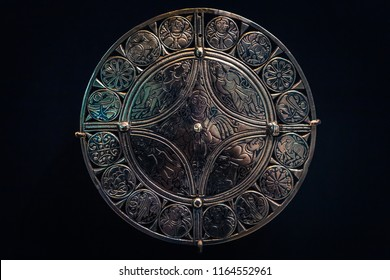 London - August 06, 2018: Ancient Anglo-Saxon shield in the Brtitish Museum in London, England