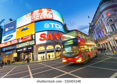 LONDON - August 13-2016: Picadilly Circus junction crowded by people on August 13, 2016  It's a road junction and public space of London's West End in the City of Westminster, built in 1819.