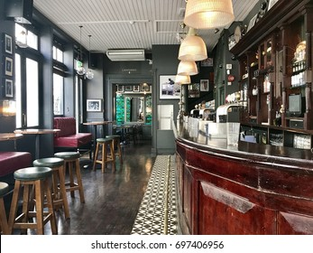 LONDON - AUGUST 15, 2017: Victorian pub interior in Soho, London, UK.