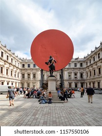 LONDON - AUGUST 15, 2018. Anish Kapoor's installation for the Summer Exhibition, entitled Symphony for A Beloved Daughter, located in the courtyard of the Royal Academy of Arts, London, UK.