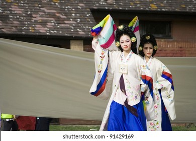 LONDON - AUGUST 15: Korean ethnic dancers perform, Taepyeongmu, dance to wish great peace, in the Korean Festival on August 15, 2009 in London, UK.