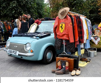 LONDON - AUGUST 18, 2018. The Classic Car Boot Sale, where traders display their sales goods on and around their vintage cars, located across Granary Square in the King's Cross area of London, UK.