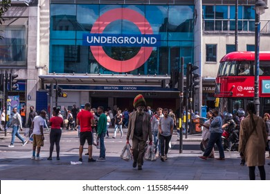 LONDON- AUGUST, 2018: Brixton street scene outside the London underground station. A vibrant area of south west London